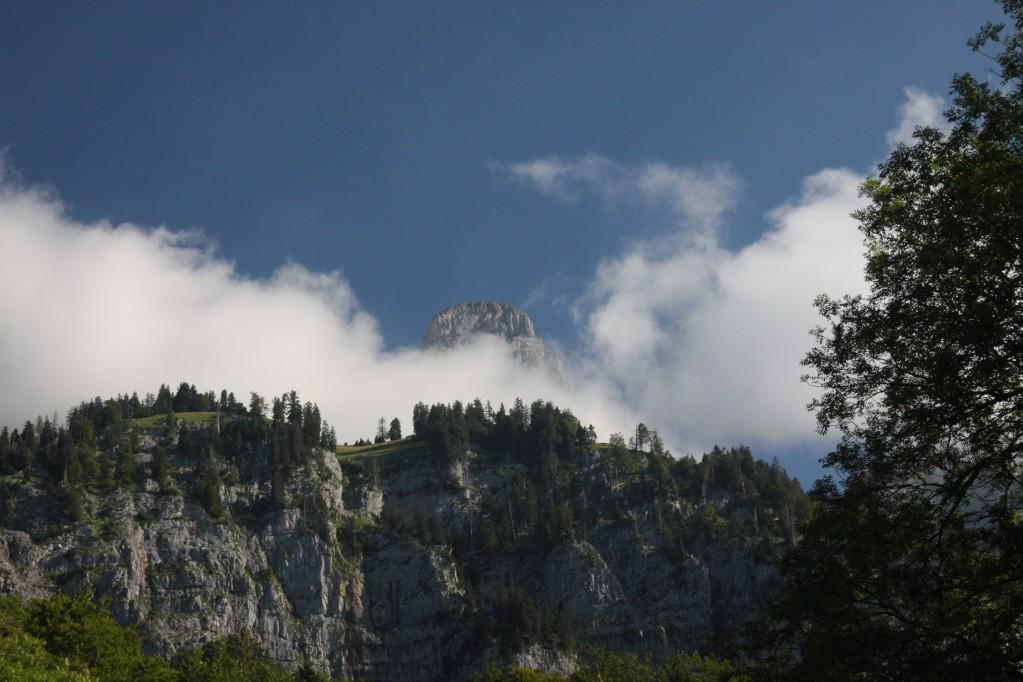 Blick hoch zu den noch wolkenverhangenen Churfirsten
